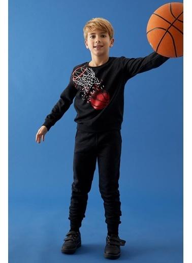 Defacto –Fit Erkek Çocuk Baskılı Sweatshirt ve Jogger Eşofman Alt Takım Antrasit